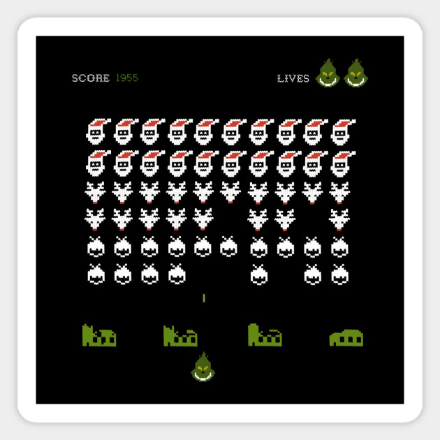 Space Invader Grinch Version - Funny Christmas